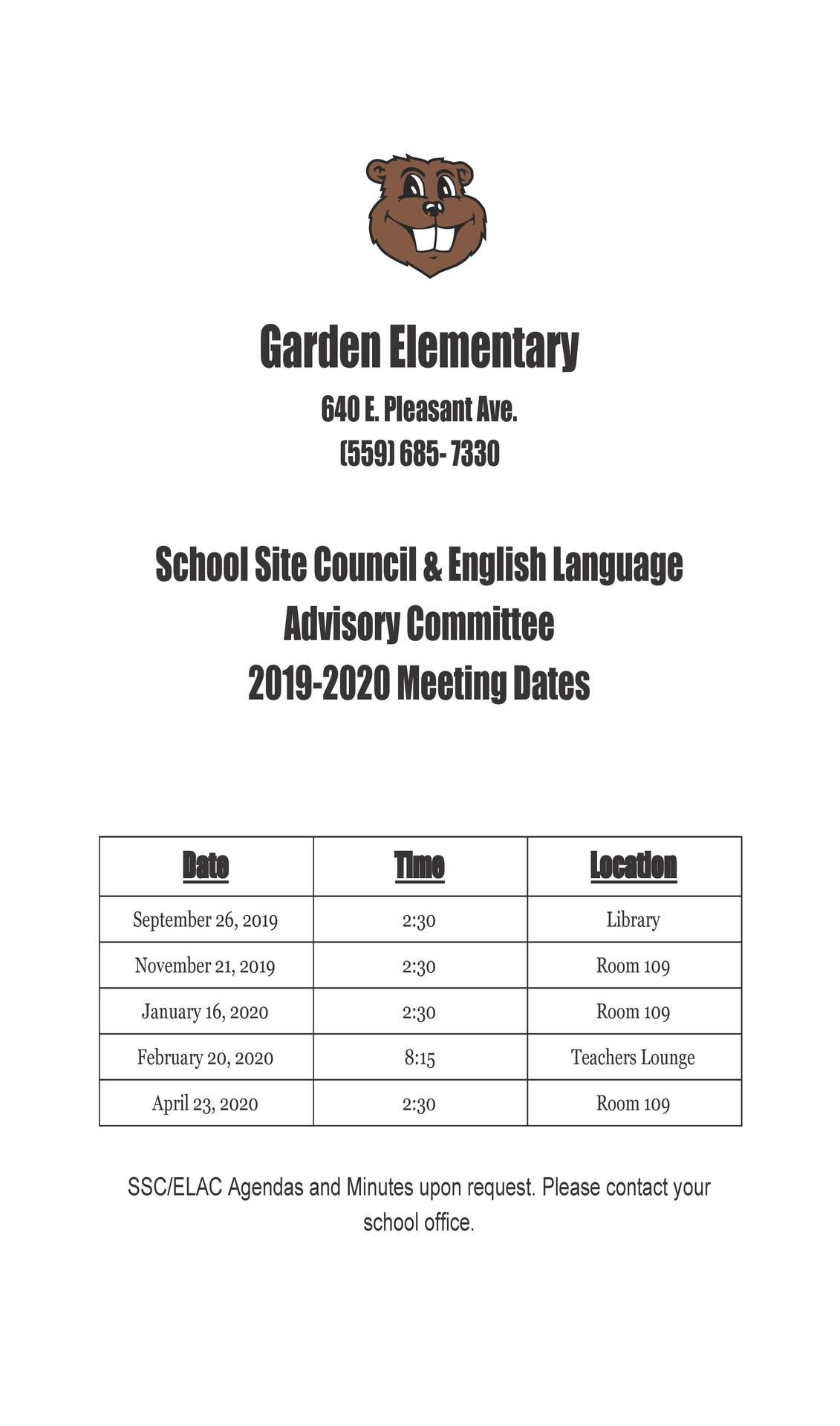 19-20 SSC/ELAC Meeting Dates