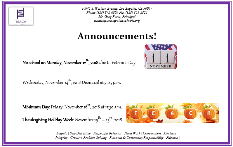 November Announcements/ Anuncios del mes de noviembre. Featured Photo