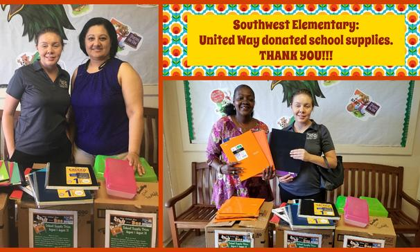 southwest elementary:  united way donated school supplies