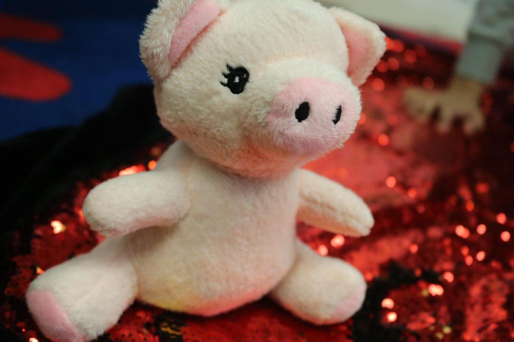 stuffed animal pig on beaded red blanket