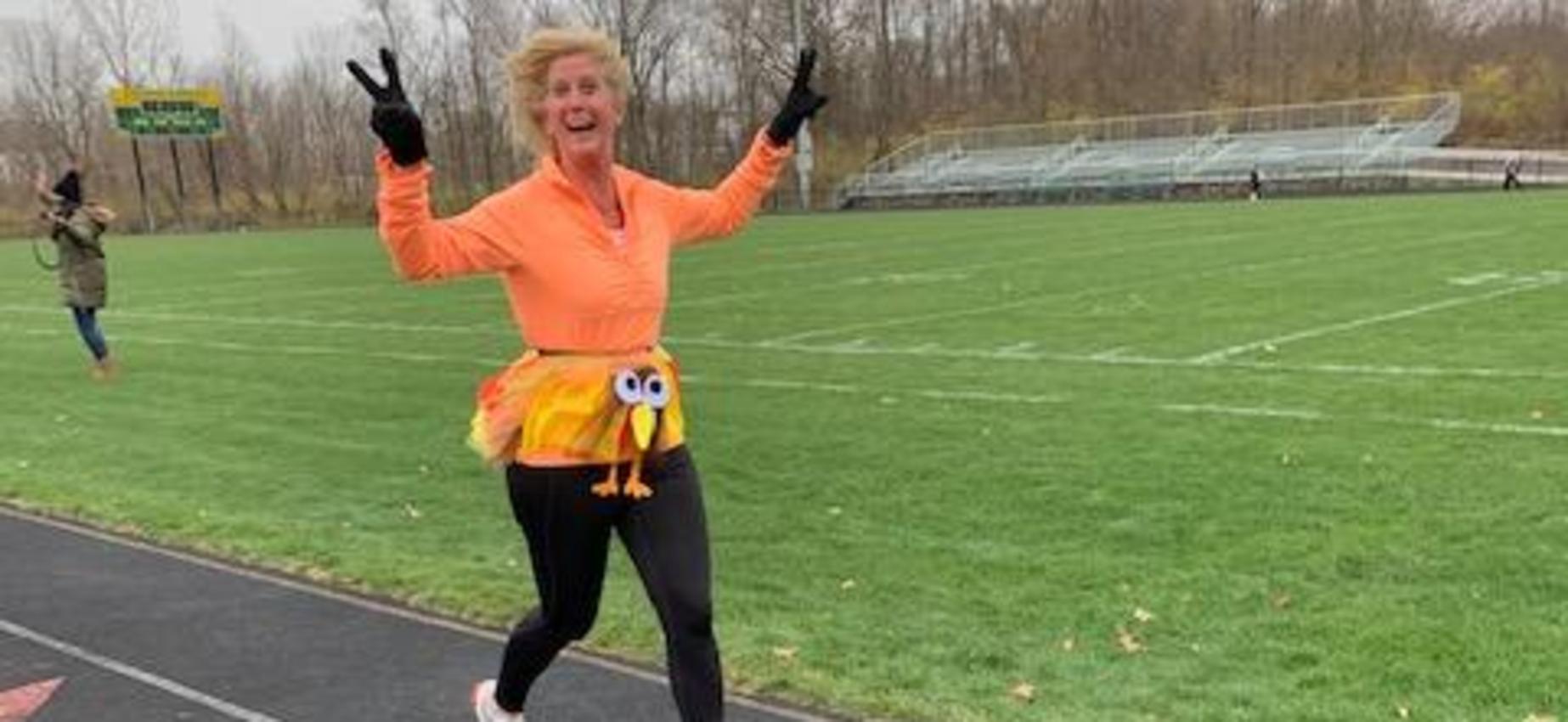 Mrs. Pazera with her Turkey Trot Win!