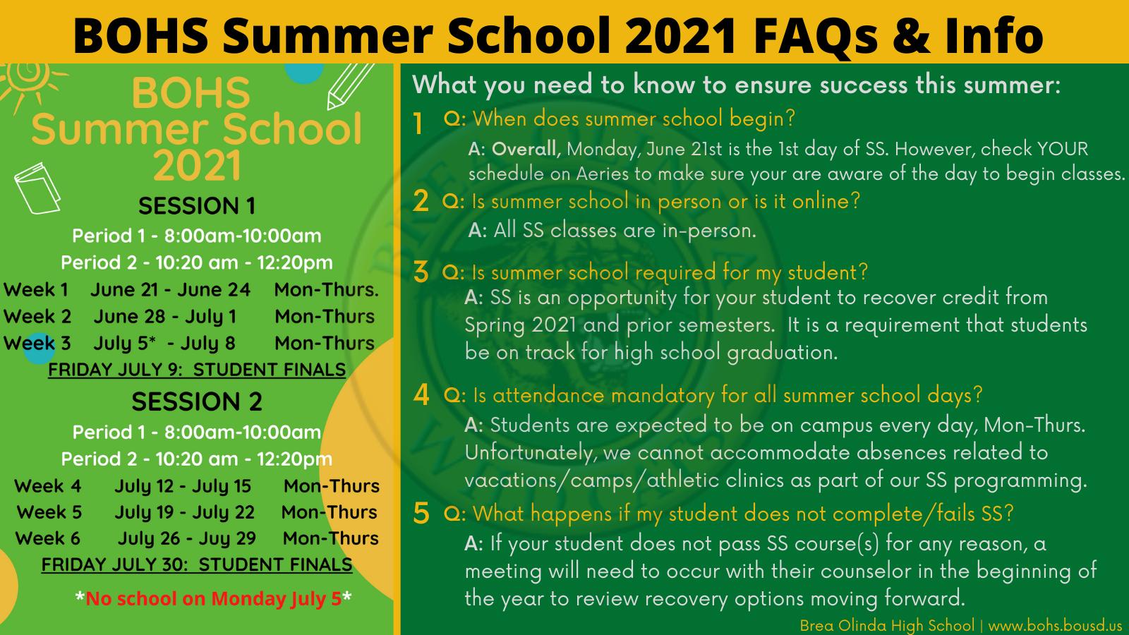 Summer School 2021 information