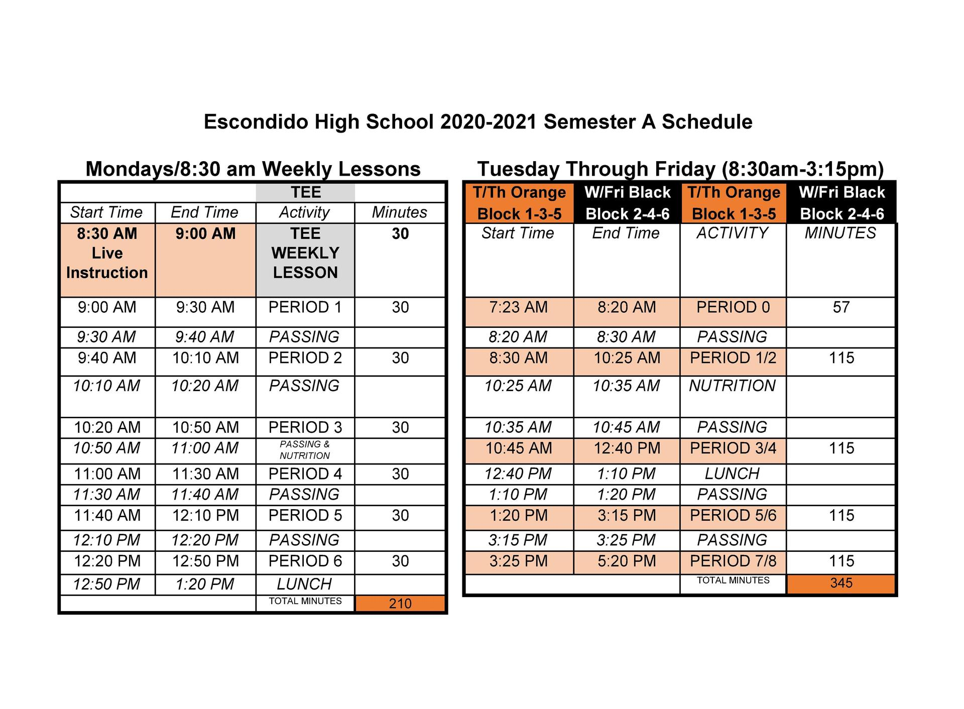 santana high school bell schedule