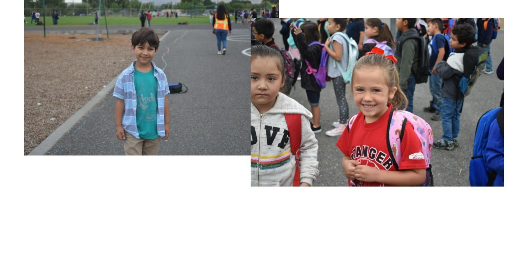 two pictures.  The first picture of a boy smiling on pay to dress day.  The second picture of a girl smiling wearing her Granger Spartans shirt.