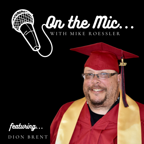 On the Mic logo with Dion Brent pictured in Graduation gown