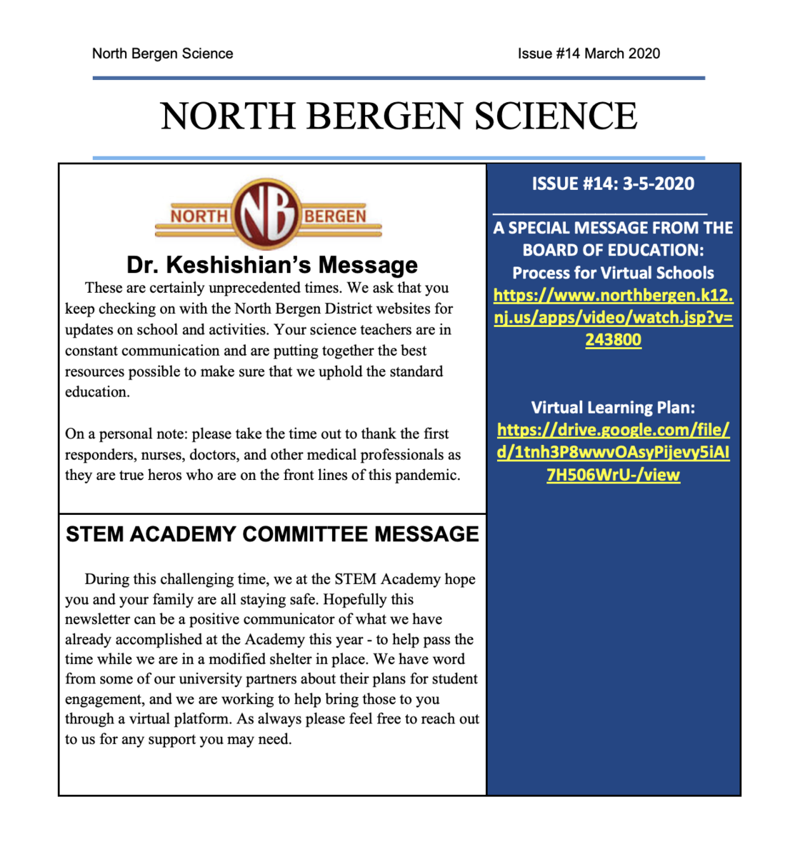 Science Newsletter 14 March 2020