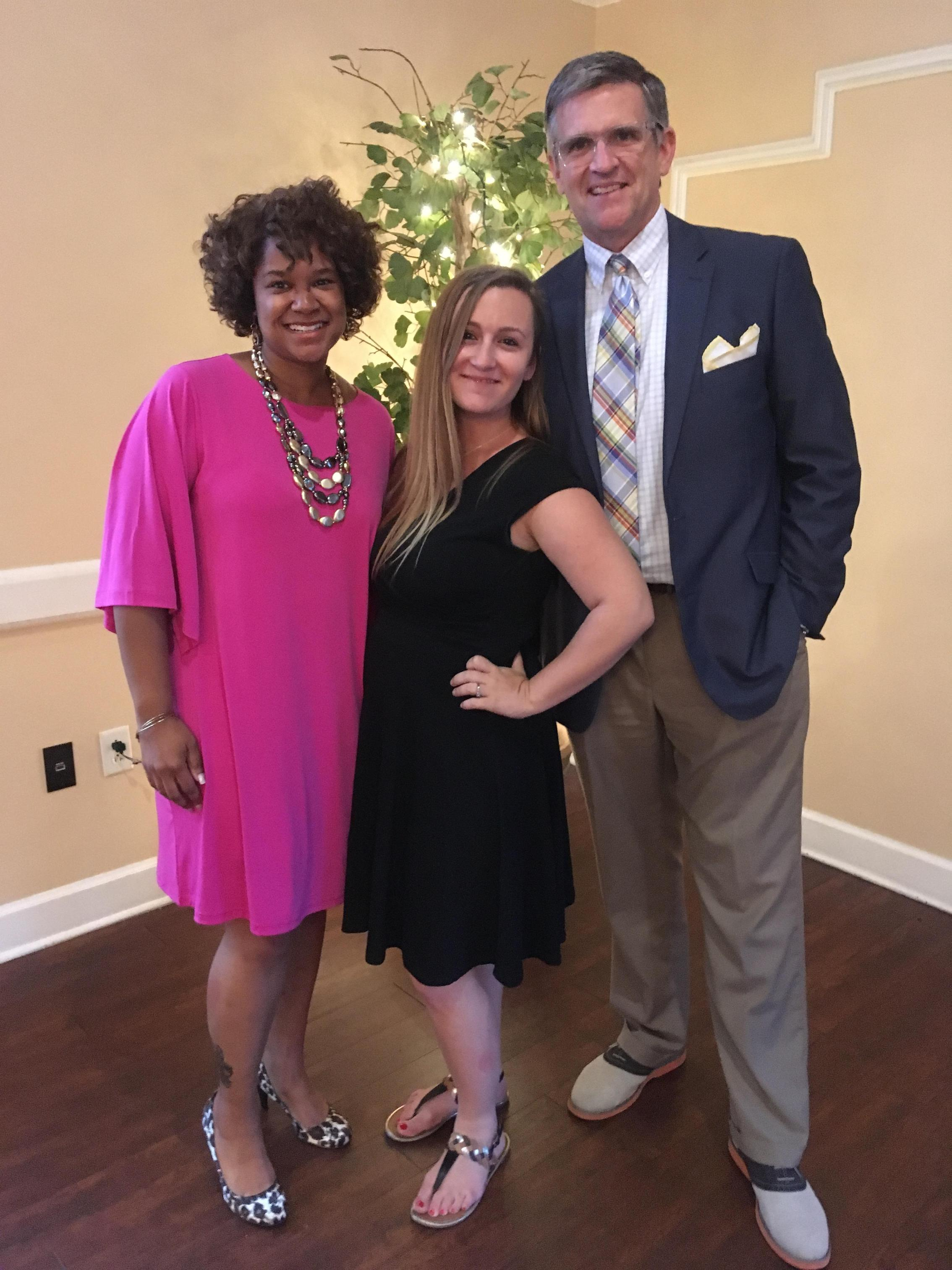Mrs. Buggs and Mr. Brennan with Mrs. Chappell, teacher of the year 2019