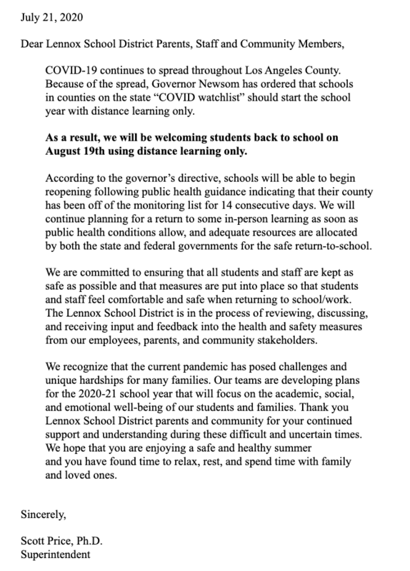 distance learning 2020 letter