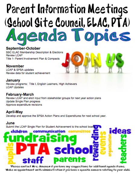 School Site Council Agendas