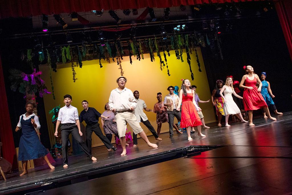 """The full cast of """"Once on this Island"""" sings and dances for the number, """"Why We Tell"""""""
