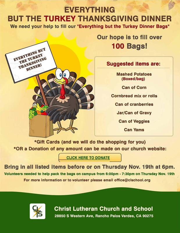 Everything But The Turkey Thanksgiving Dinner Food Drive Featured Photo
