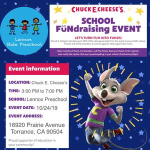 Flyer with information of the Chuck E Cheese Fundraiser