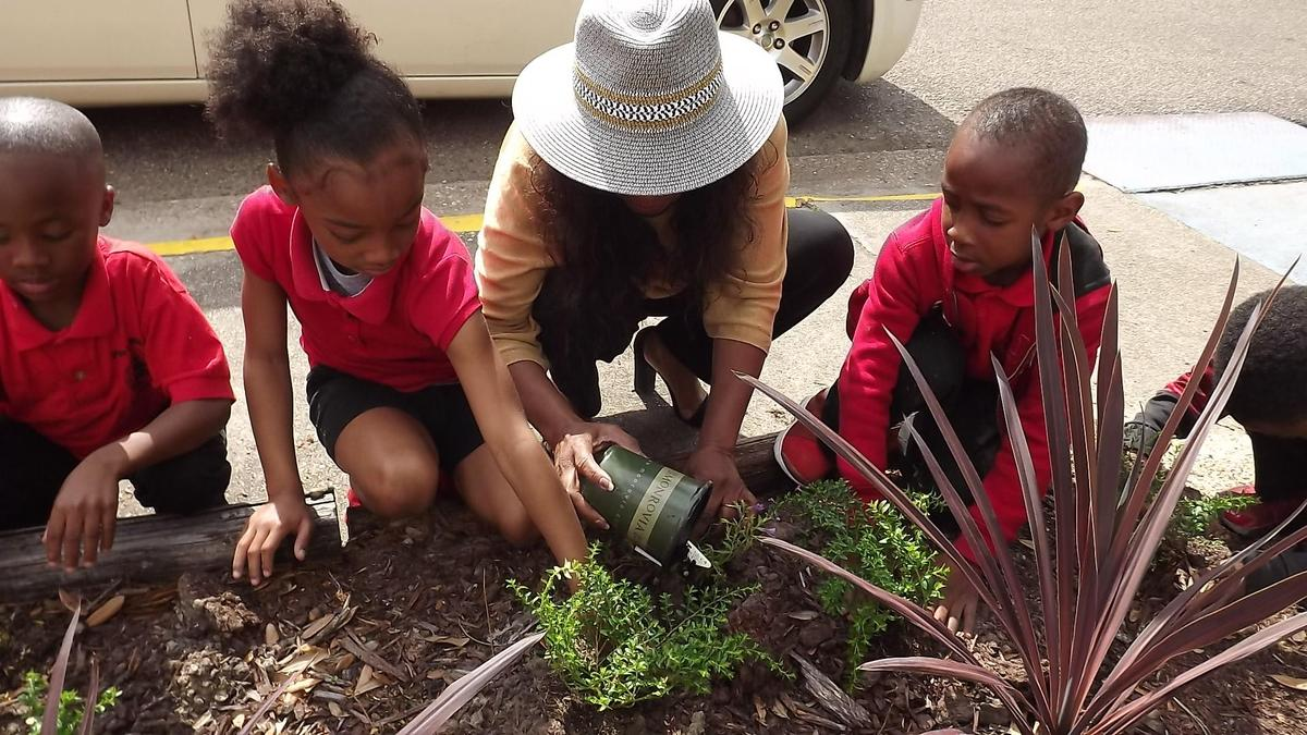 Kindergarten class planting flowers in flower bed