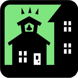 Icon of school house and distance learning