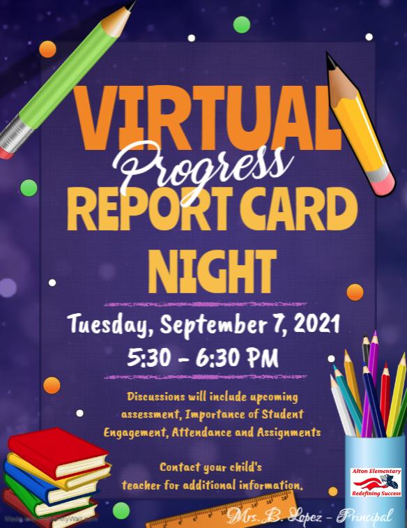 1st Reporting Period Virtual Progress Report Card Night Featured Photo