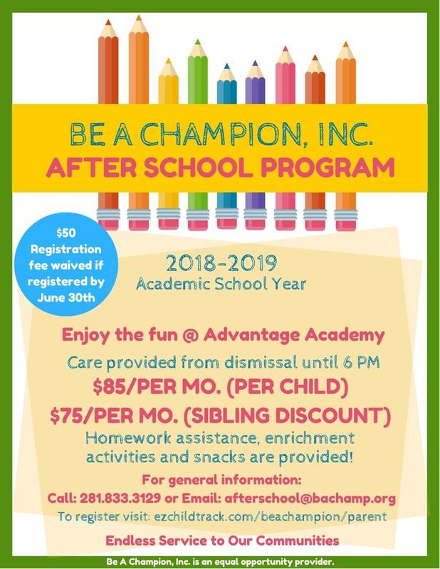 Free Registration in June for Be A Champion After School Care Featured Photo