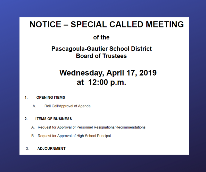 Special Called Board Meeting Wednesday, April 17, 2019, 12:00 PM