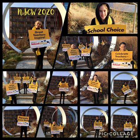 Picture of NSCW dancers downtown Toledo, holding school choice signs.