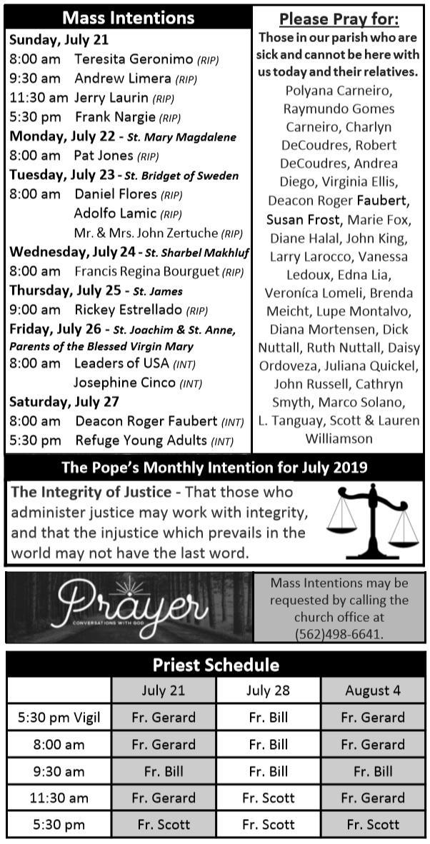 Weekly Mass Intentions