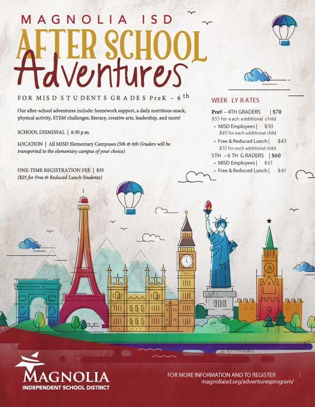 After School Adventures Program 2020-2021 flyer