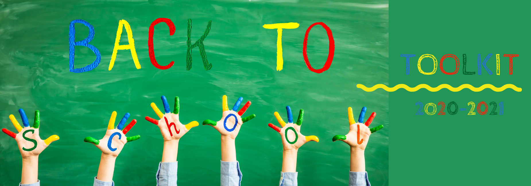 hands of children painted to spell back to school toolkit