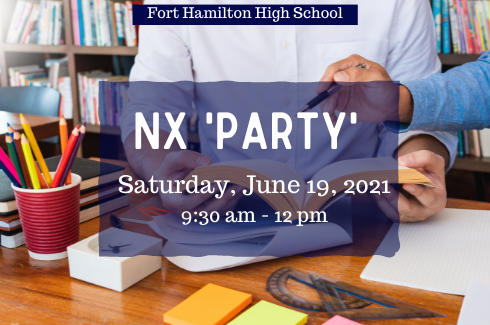 Fort Hamilton High School. NX 'Party'. Saturday, June 19, 2021.Two individuals working at a desk in a library.