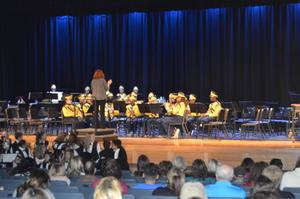 Members of the Morrisville High School Band perform