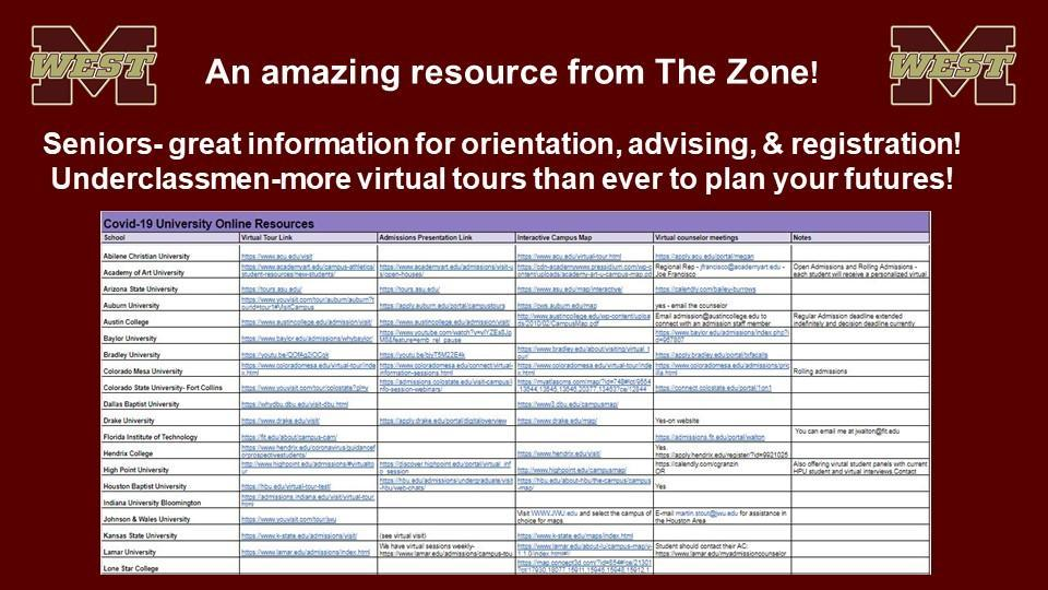 Virtual College Resources