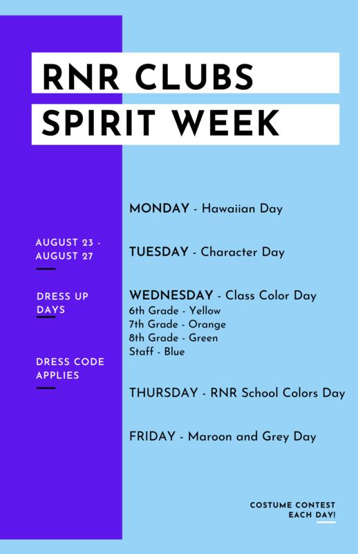 Flyer - RNR Clubs Spirit Week