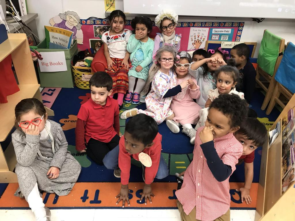 kindergarten class dressed as old people