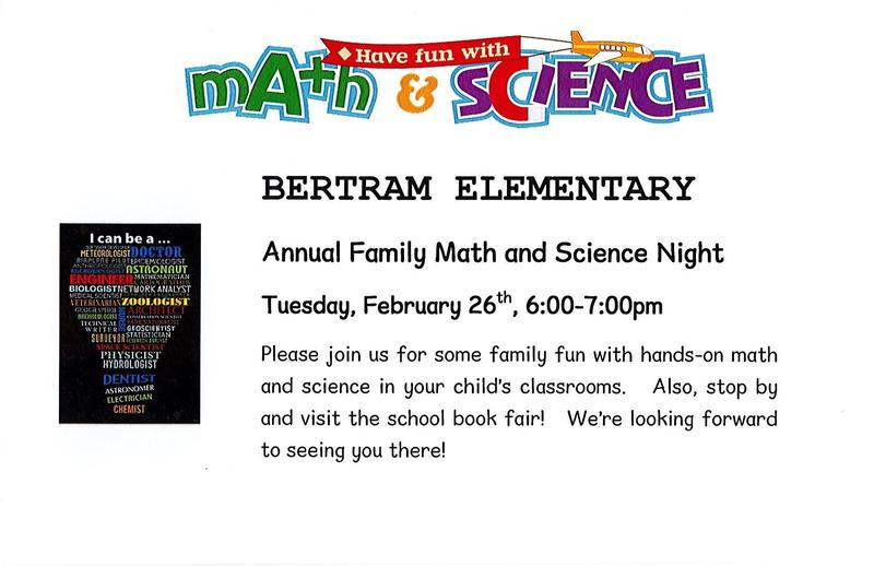 Family Math and Science Night will be Tuesday, February 26th, 6:00 p.m. - 7:00 p.m. Thumbnail Image