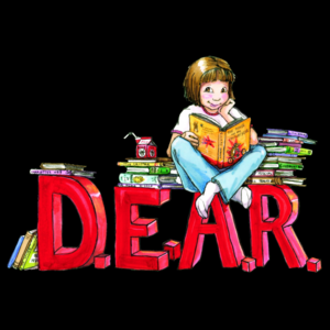 graphic of girl sitting with books atop the letters DEAR