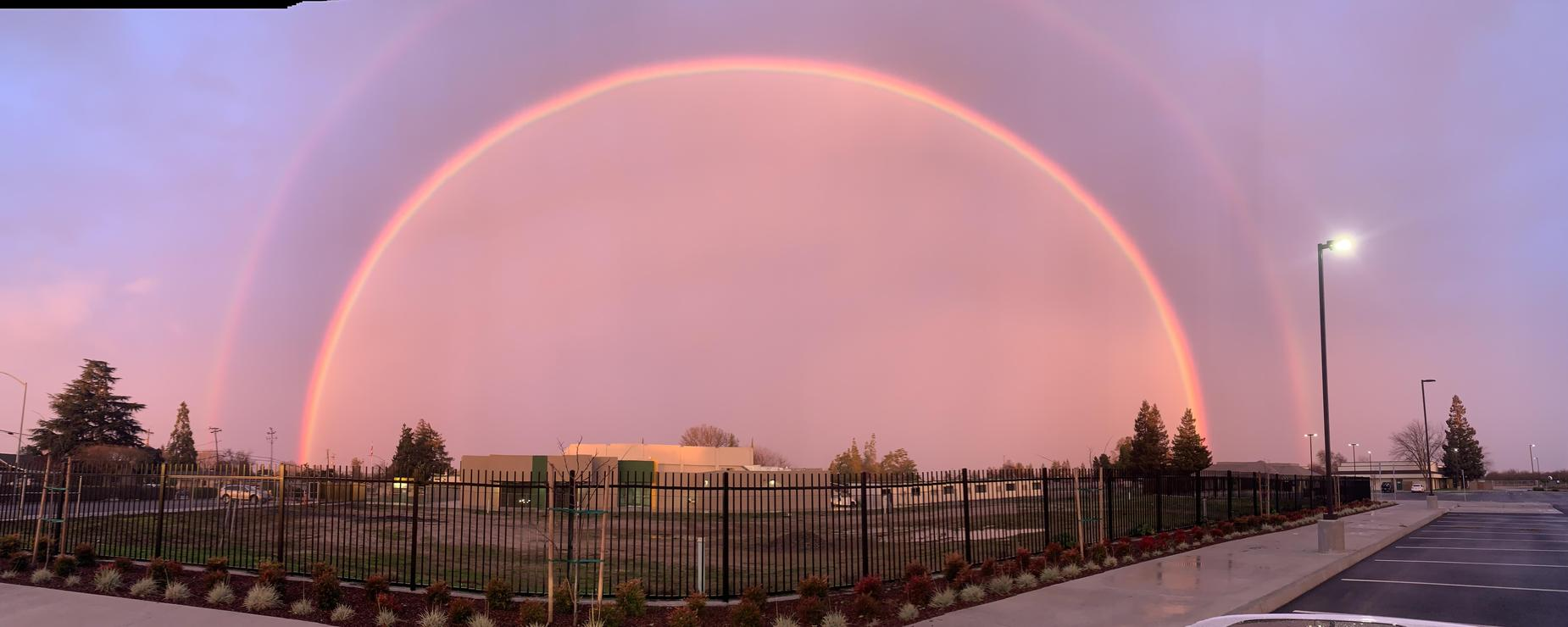 real double rainbow over Dent Elementary