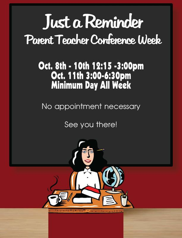 Flyer with dates/times of conferences