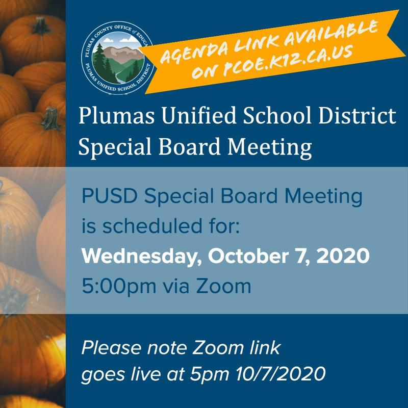PUSD Special Board Meeting Agenda 10/7/20