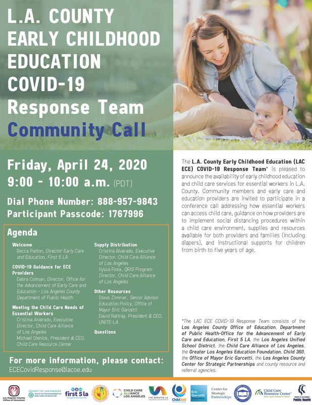 L.A. COUNTY EARLY CHILDHOOD EDUCATION COVID-19 Response Team Community Call