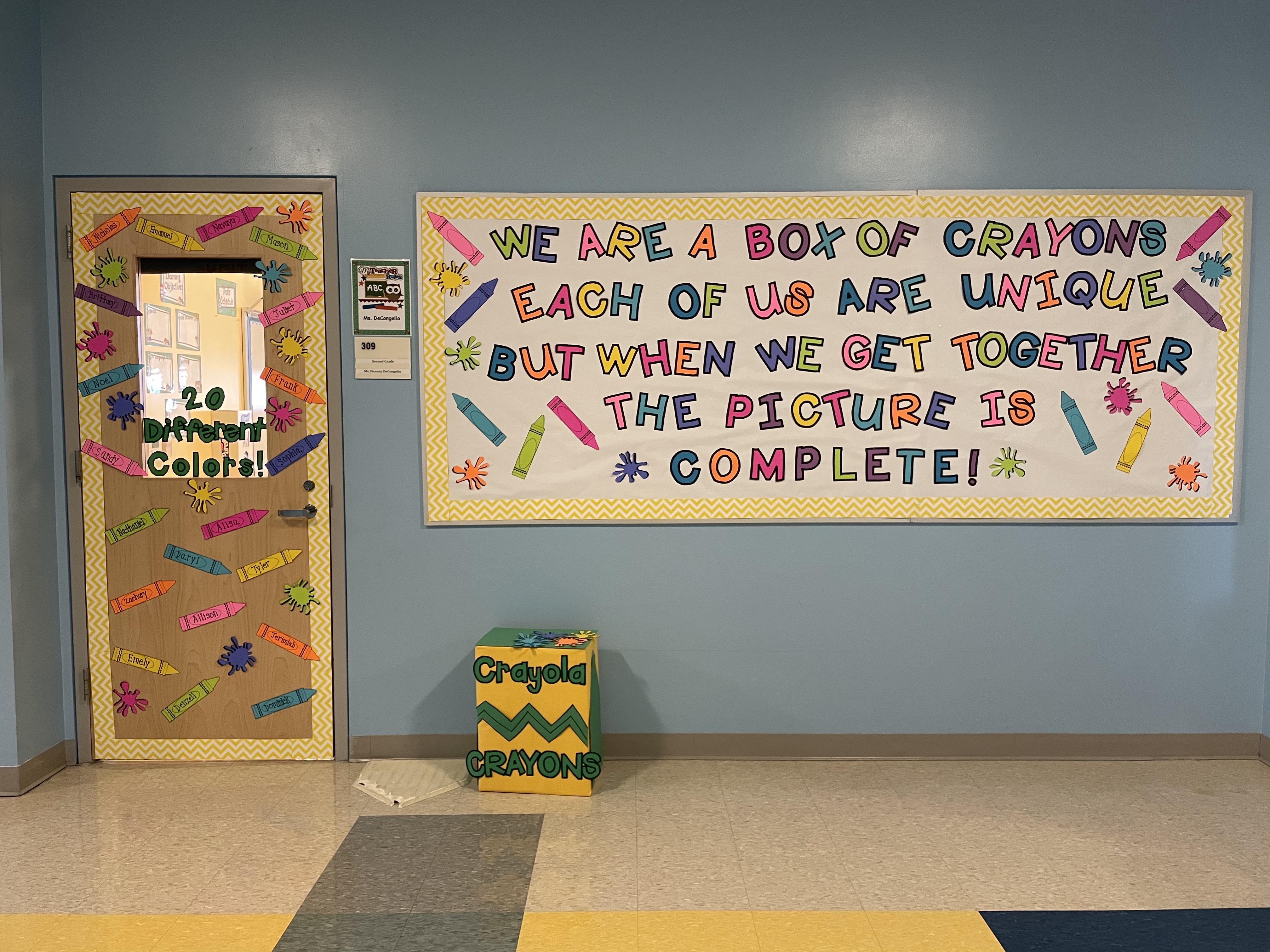 Crayon themed bulletin board