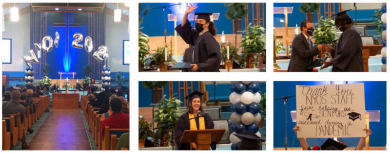 Photos of: graduation venue, student waving to the audience after getting his diploma, student speaking at graduation.