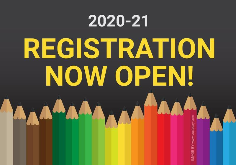2020-21 registration now open graphic with school pencils