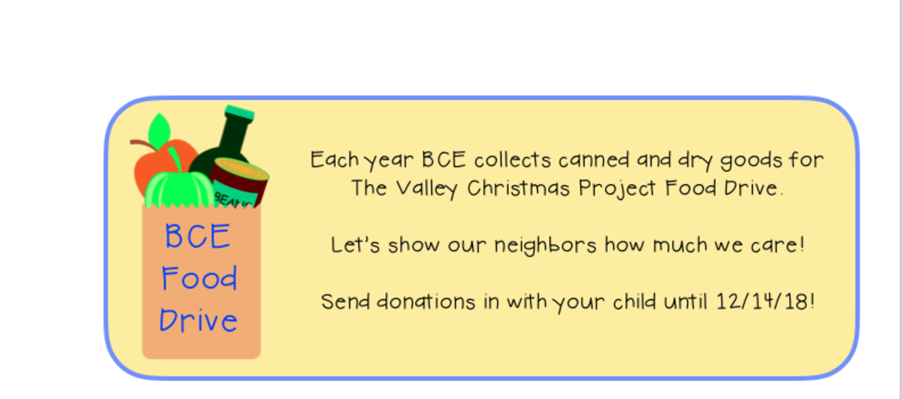 Canned Food Drive - donations accepted until 12/14/18