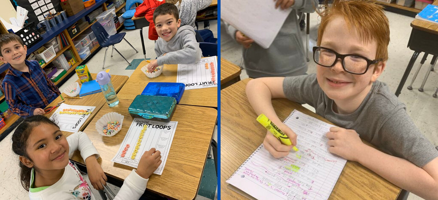 2 students learning math with fruit loops, boy highlighting in his notebook