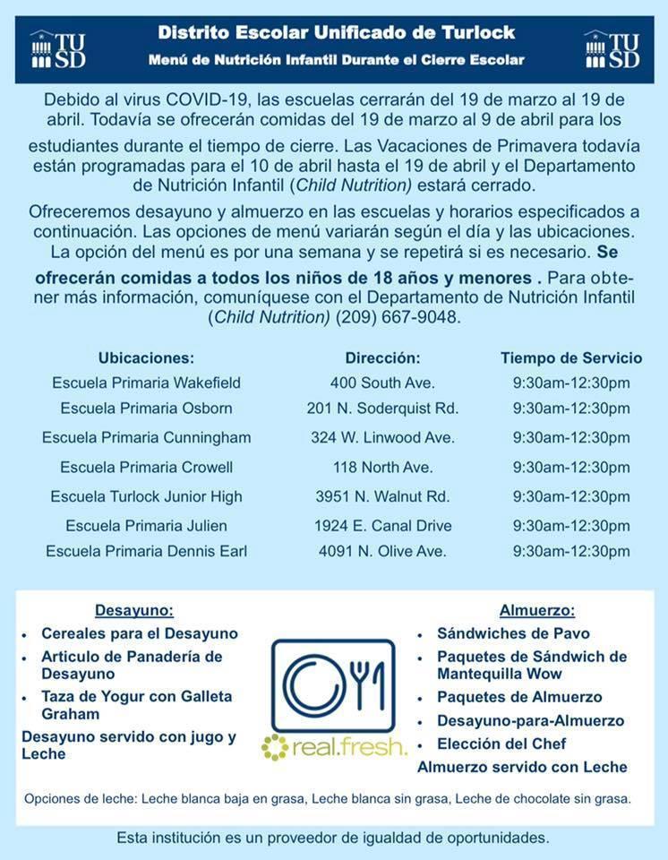 TUSD Meal Program Spanish