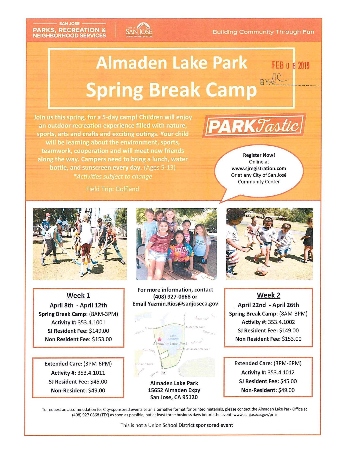 Almaden Lake Park Spring Break Camp