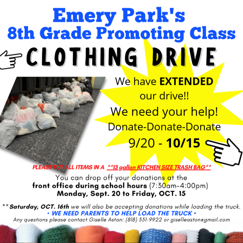 THE 8TH GRADE CLOTHING DRIVE HAS BEEN EXTENDED TO OCTOBER 15TH! Featured Photo