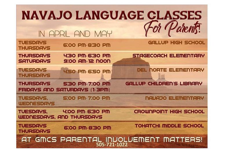 Navajo classes for parents schedule