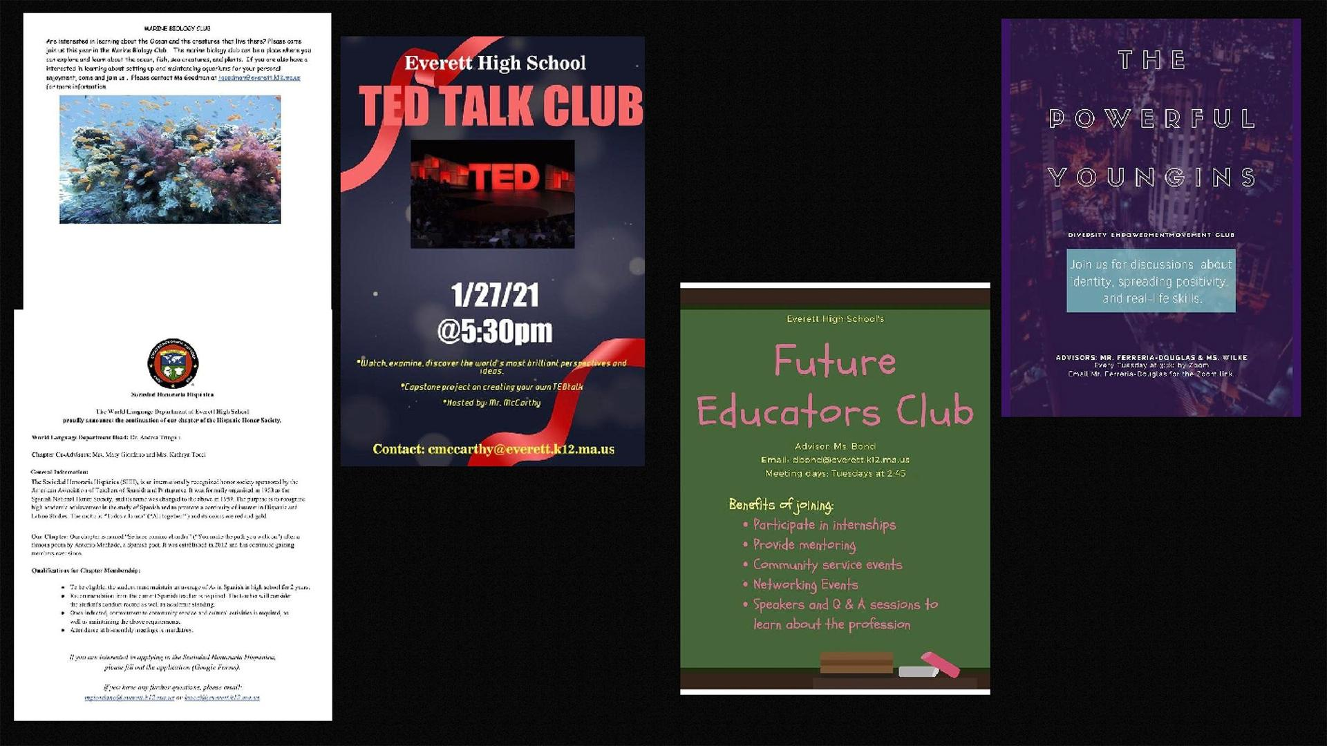 A collection of icon-size flyers promoting EHS clubs and student organizations