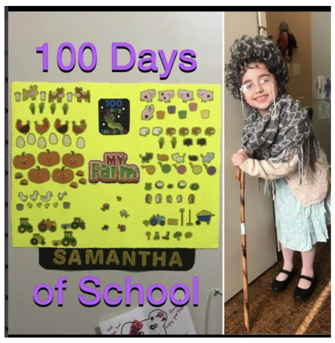 Samantha dressed as 100 year old and her 100 items collage