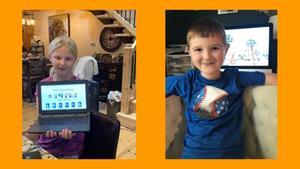 Two second-grade TK Virtual students were selected to ask questions during a national author talk.
