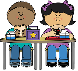 clipart of kids eating school lunch