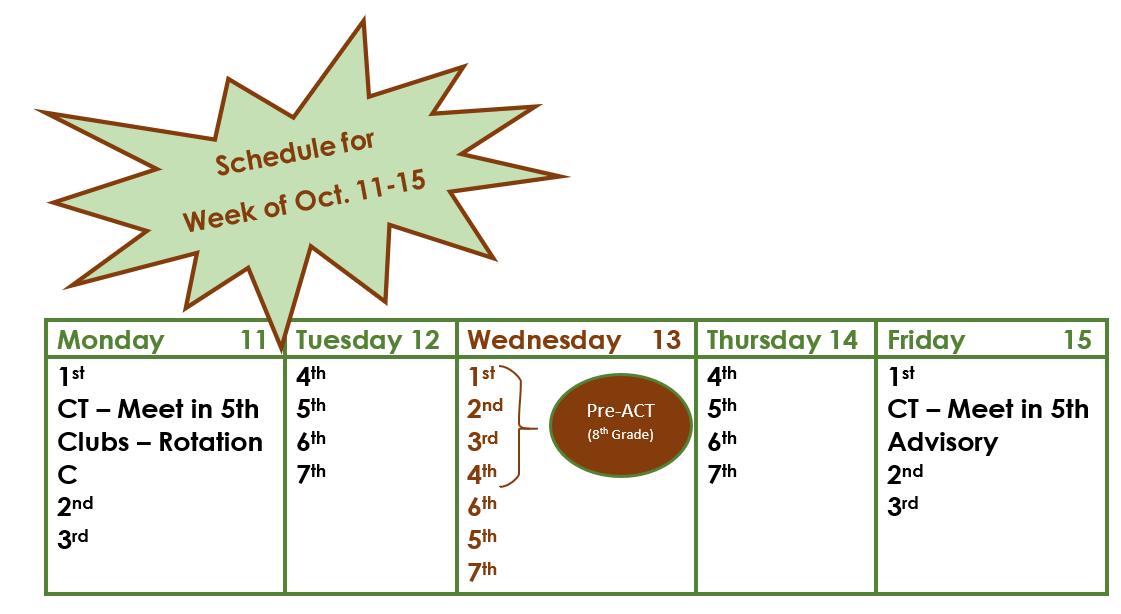 Schedule Week of Oct 11-15